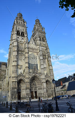 Stock Photo of Gothic cathedral of Saint Gatien in Tours, Loire.