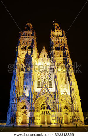 Tours Cathedral France Stock Photos, Royalty.