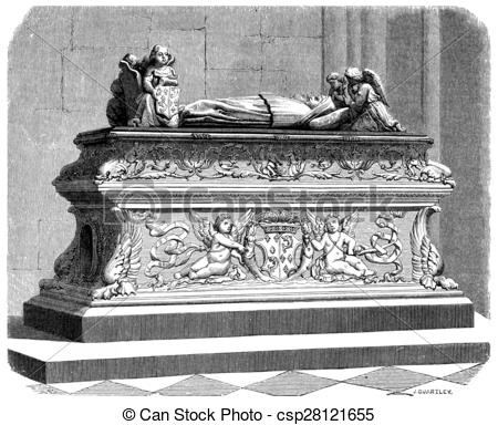 Stock Illustrations of Tomb of the children of Anne of Brittany in.
