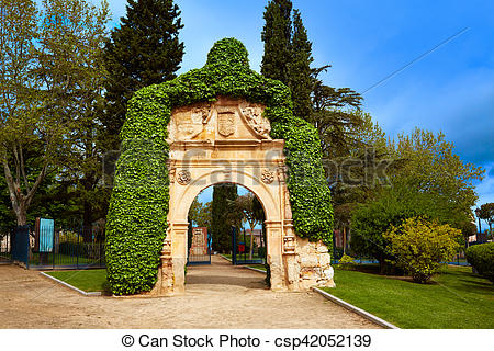 Stock Photos of Zamora Cathedral square portico in Spain by Via de.