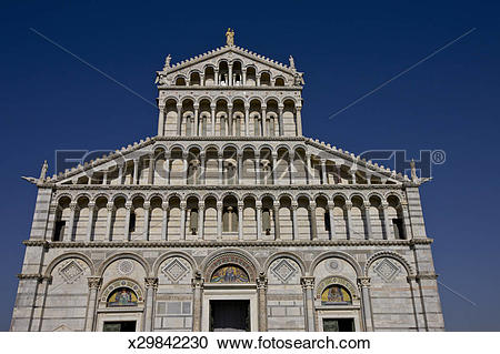 Stock Photography of Duomo, Cathedral of Pisa, Piazza del Duomo.