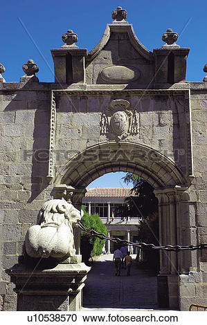 Stock Photography of Spain, Castilla Leon, Avila, Stone, Lion.