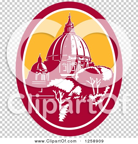Clipart of a Woodcut of the Dome of St Peter's Basilica Vatican.