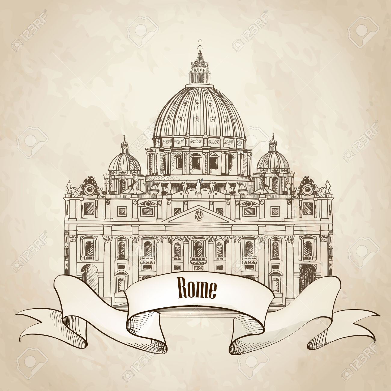 St Peter S Cathedral, Rome, Italy Hand Drawn Vector Illustration.