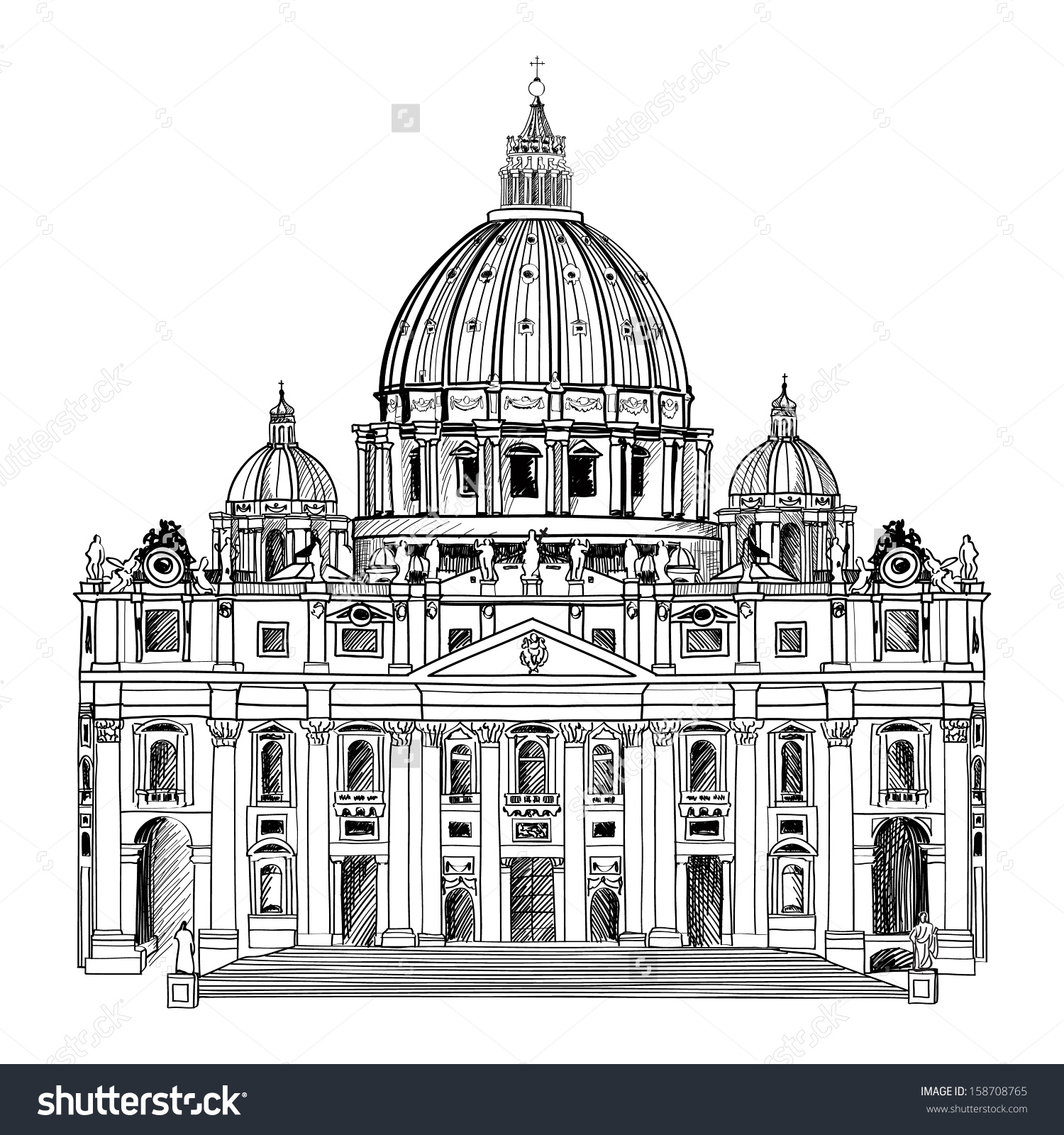 St Peters Cathedral Rome Italy Hand Stock Vector 158708765.