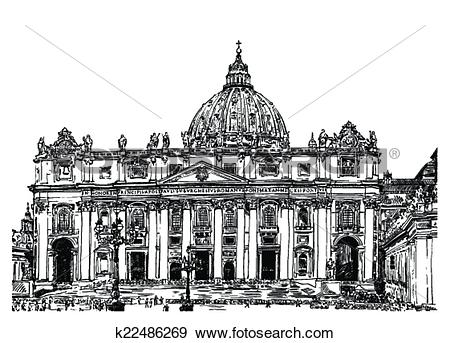 Clip Art of St. Peter's Cathedral, Rome, Vatican, Italy k22486269.