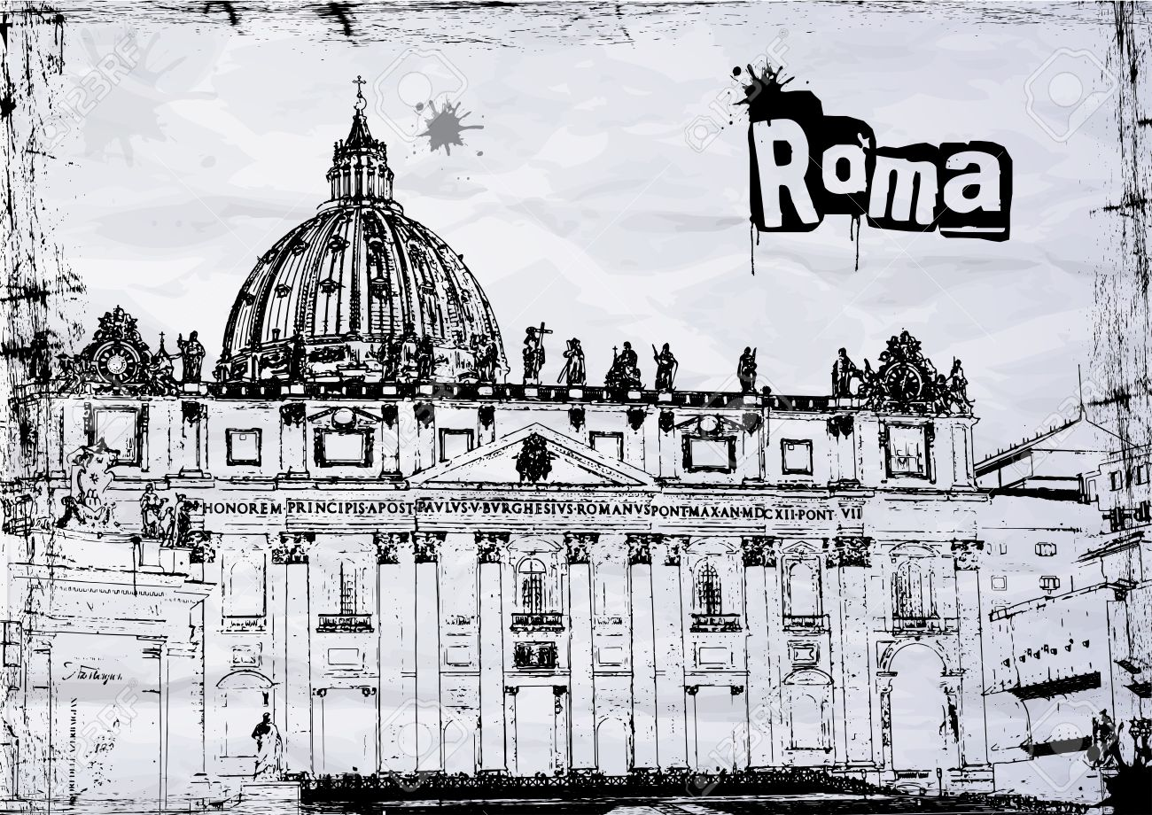 St. Peter's Cathedral In Rome, Italy, BW Royalty Free Cliparts.