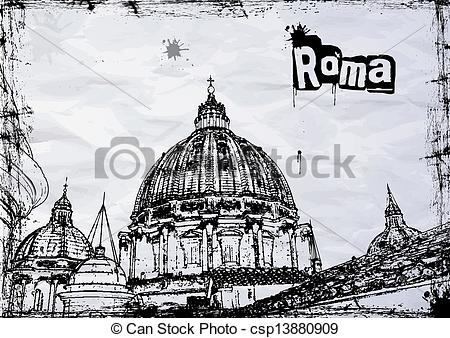 Vector Clipart of St. Peter's cathedral in Rome, Italy csp13880909.