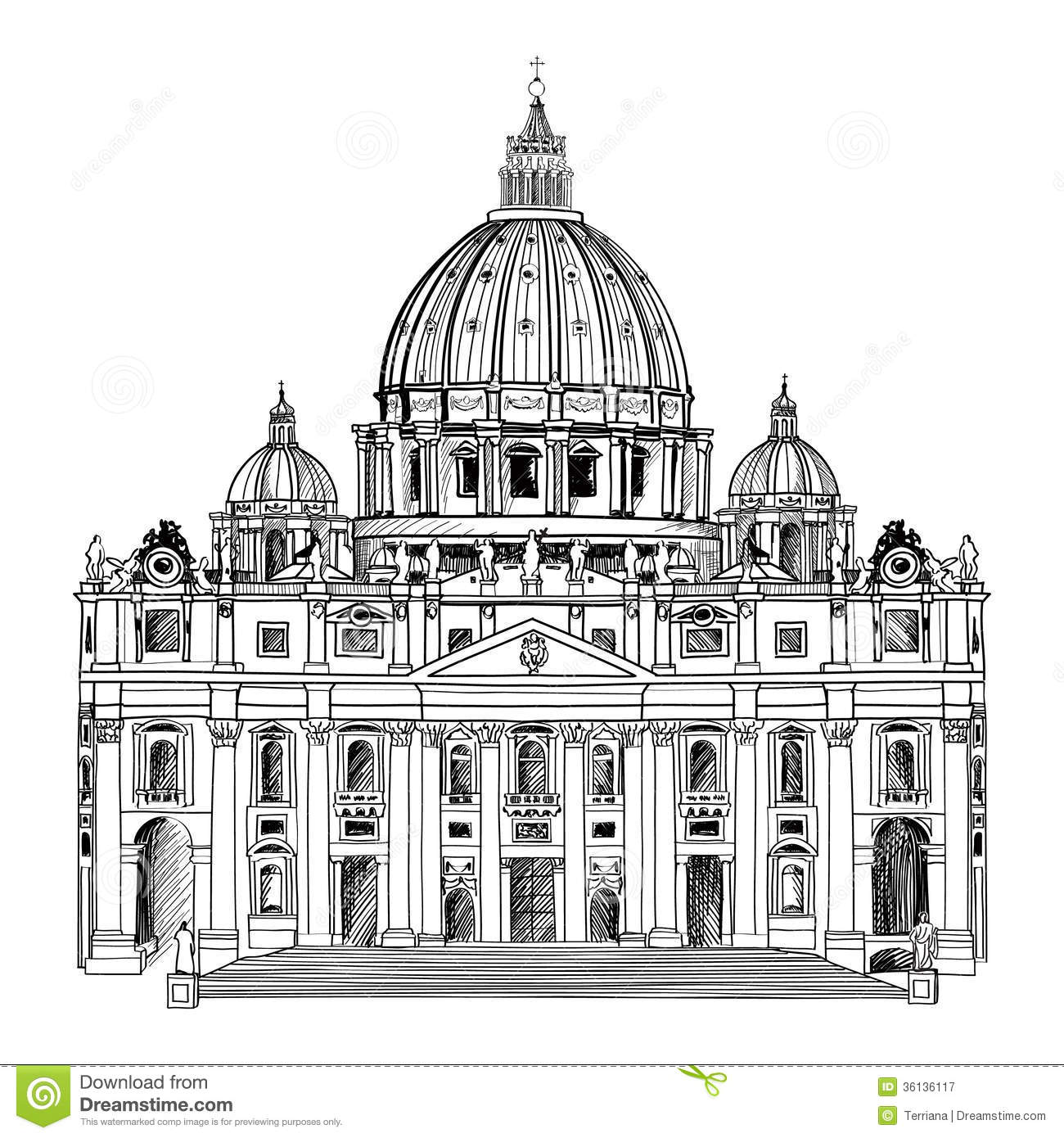 St. Peter Cathedral, Rome, Italy. Famous Landmark. Travel Label.