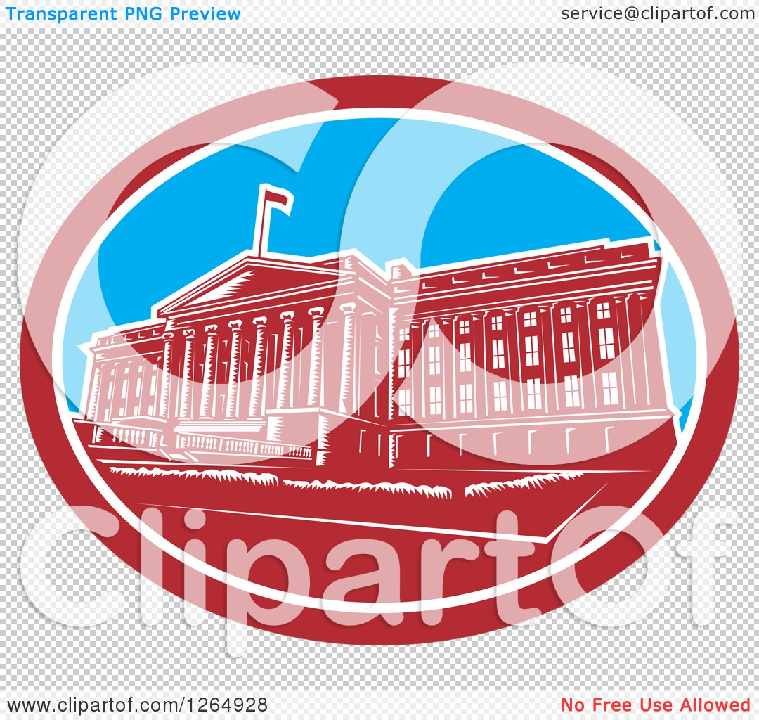 Clipart of a Retro Woodcut Facade of the Treasury Building in.