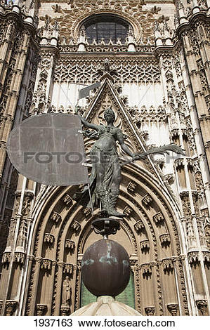 Stock Photo of Statue In Front Of Seville Cathedral; Seville Spain.