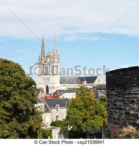 Stock Photo of Saint Maurice Cathedral and wall of Angers Castle.