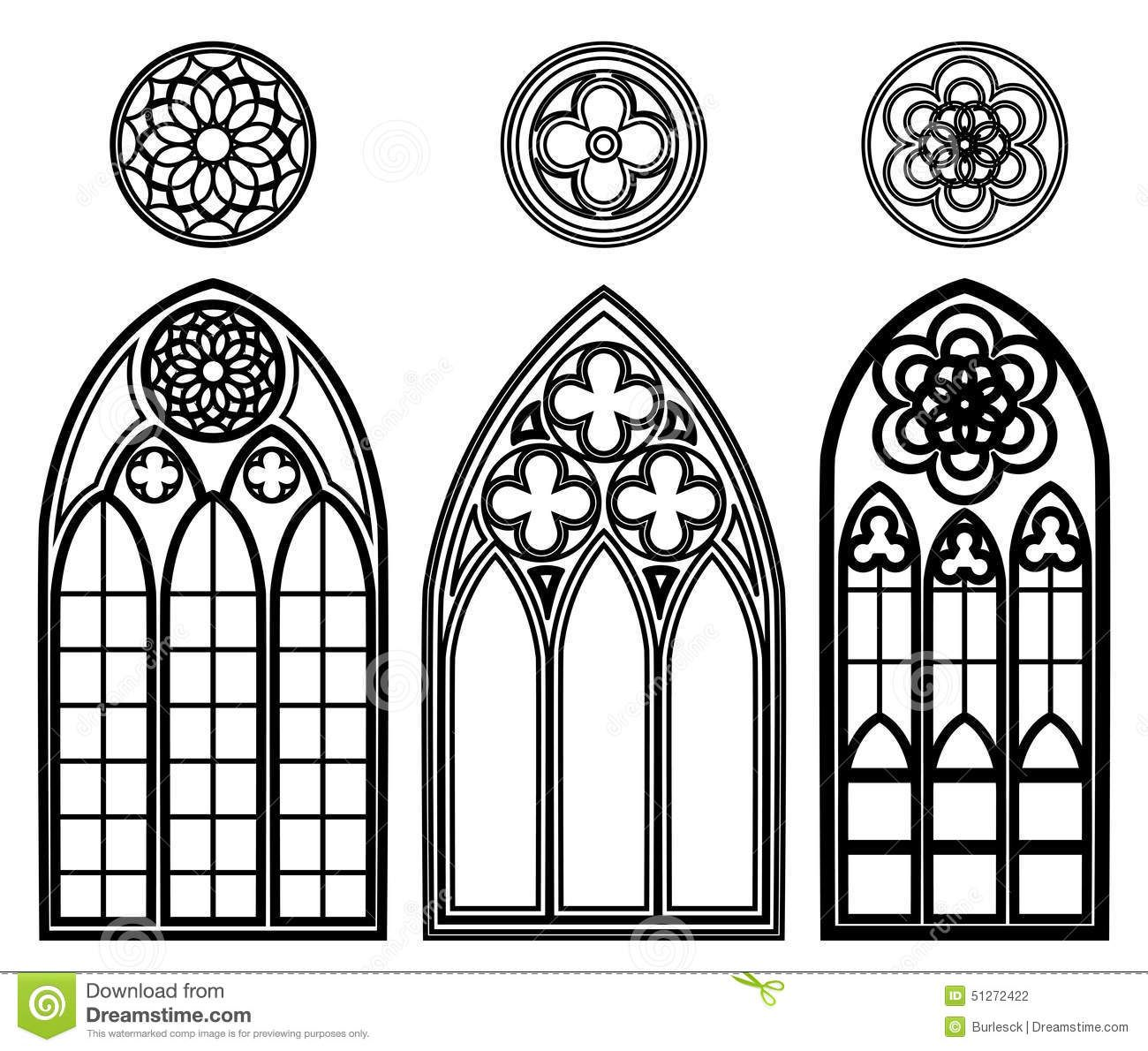 Gothic Windows Of Cathedrals Stock Vector.