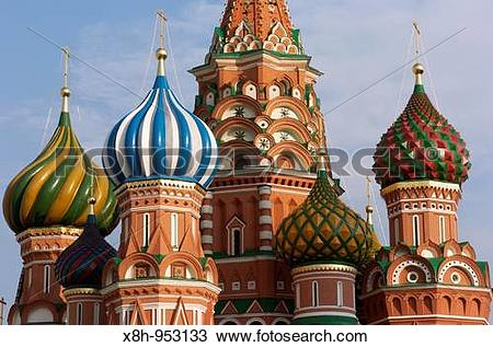 Stock Photo of Ornate Onion domes of St Basils Cathedral in Red.