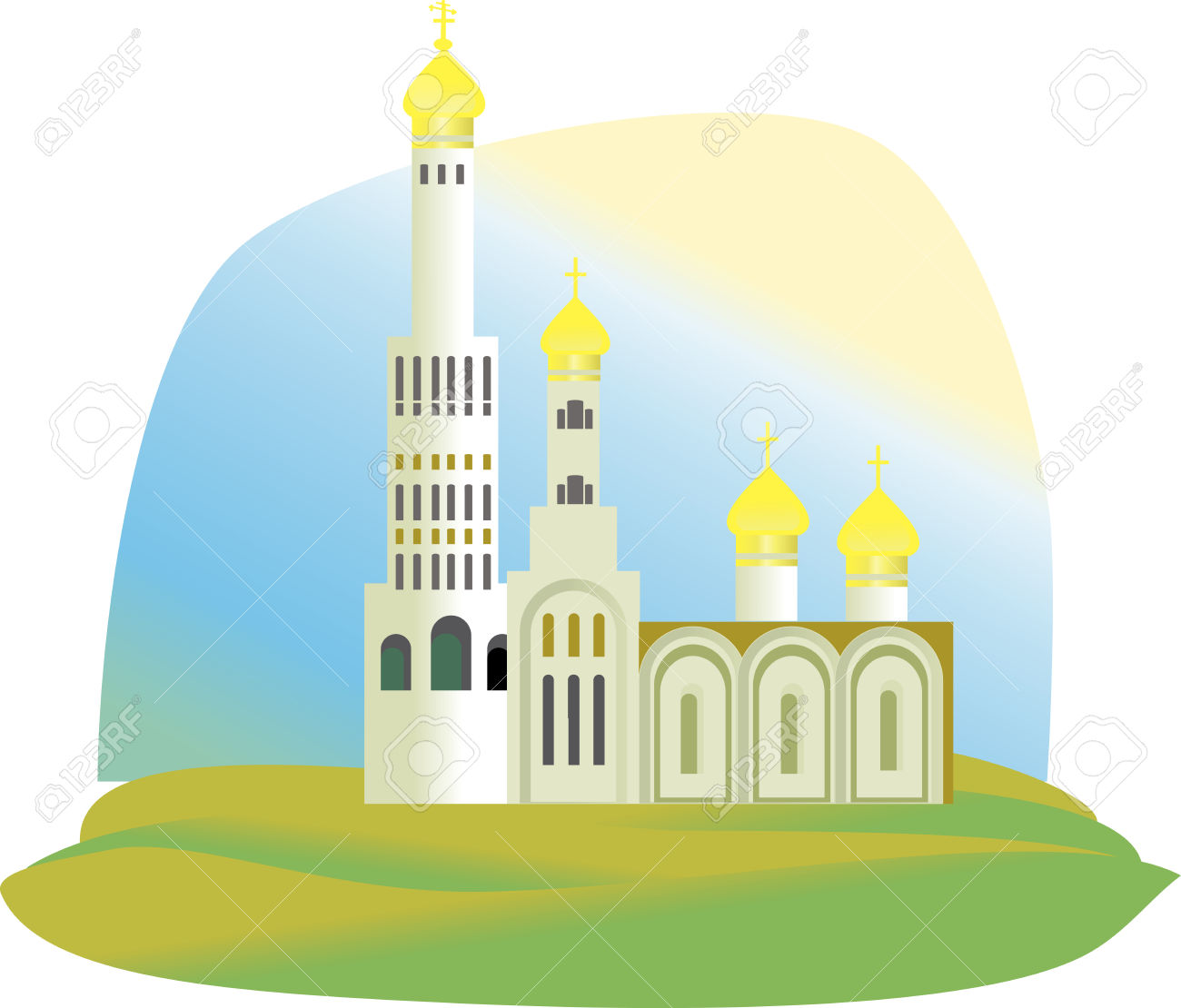 The Cathedral, The Church With Golden Domes In Green Grass Royalty.