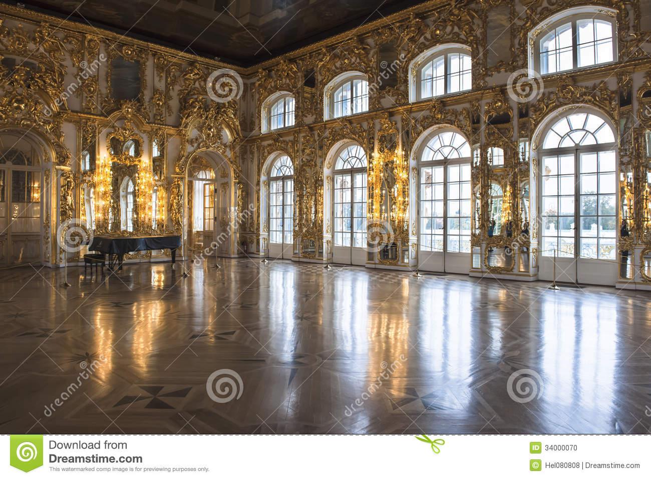 Ballroom Catherine Palace, St. Petersburg Stock Photo.