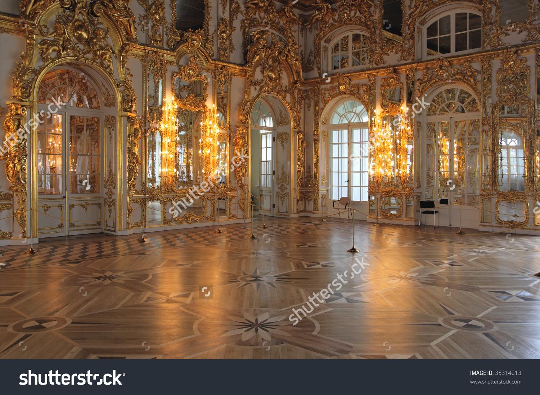 Magnificent Ballroom Inside Catherines Palace Tsarskoye Stock.