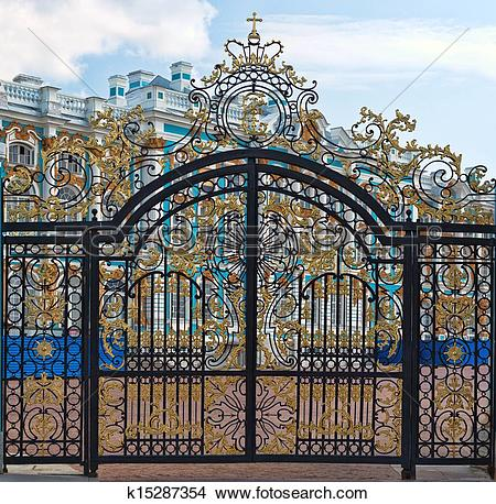 Stock Photo of Gold gate, entrance to Catherine's Palace, St.