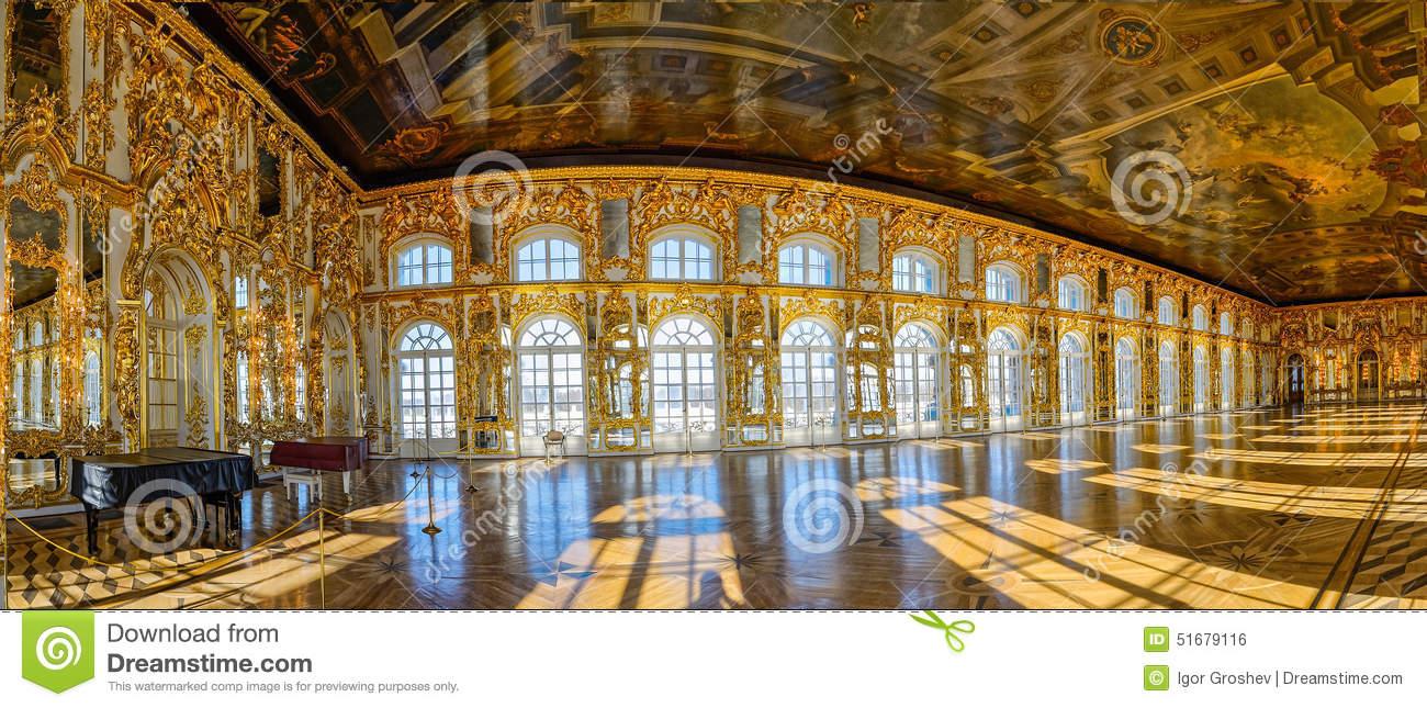 Catherine's Palace Ballroom Hall In Tsarskoe Selo (Pushkin), St.