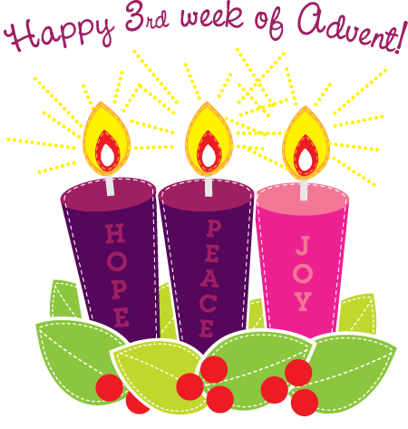 Happy 3rd Week of Advent Pink Candle = Joy.