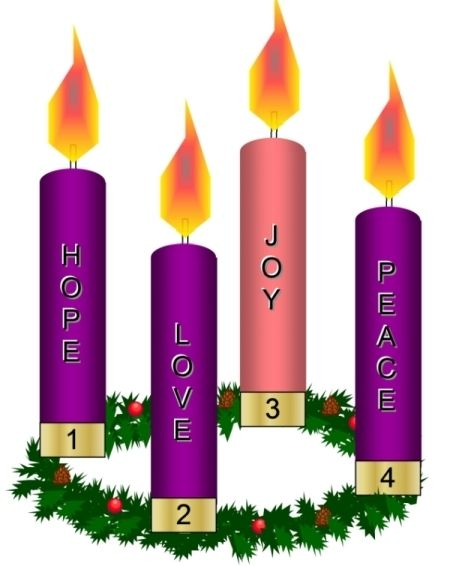 Advent wreath: A circle of evergreen branches (symbolizing God's.