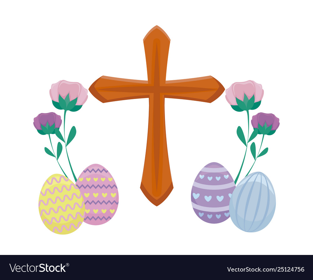 Wooden catholic cross with eggs easter and.