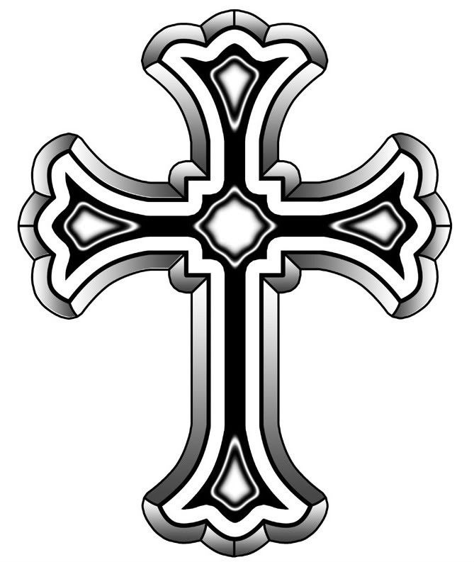 Christian Cross Grey Ink Tattoo Design.