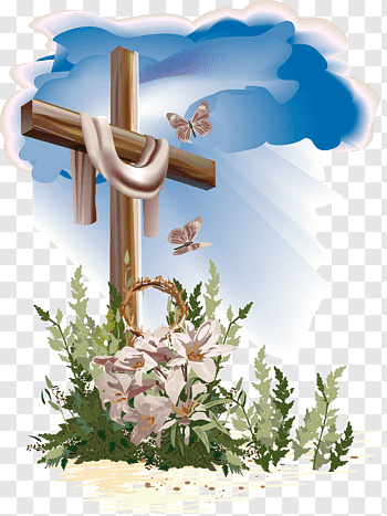 Gray cross and lily flower illustration, Easter Catholic.