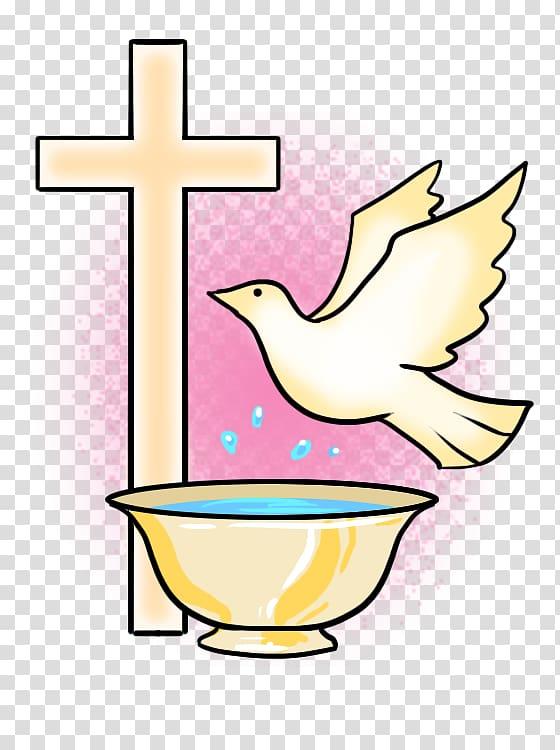 Yellow cross, bird, and bowl illustration, Baptism Symbol Sacraments.