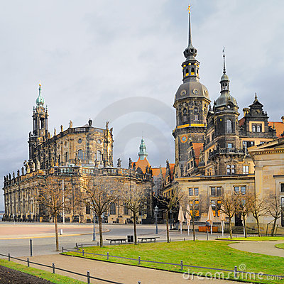 Catholic Hofkirche In Dresden Stock Image.