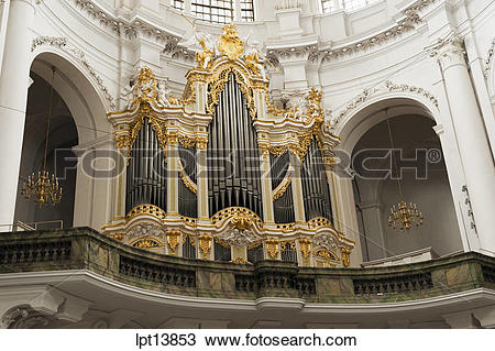 "Stock Photo of ORGAN """"EHEMALIGE KATHOLISCHE HOFKIRCHE"""" BAROQUE."