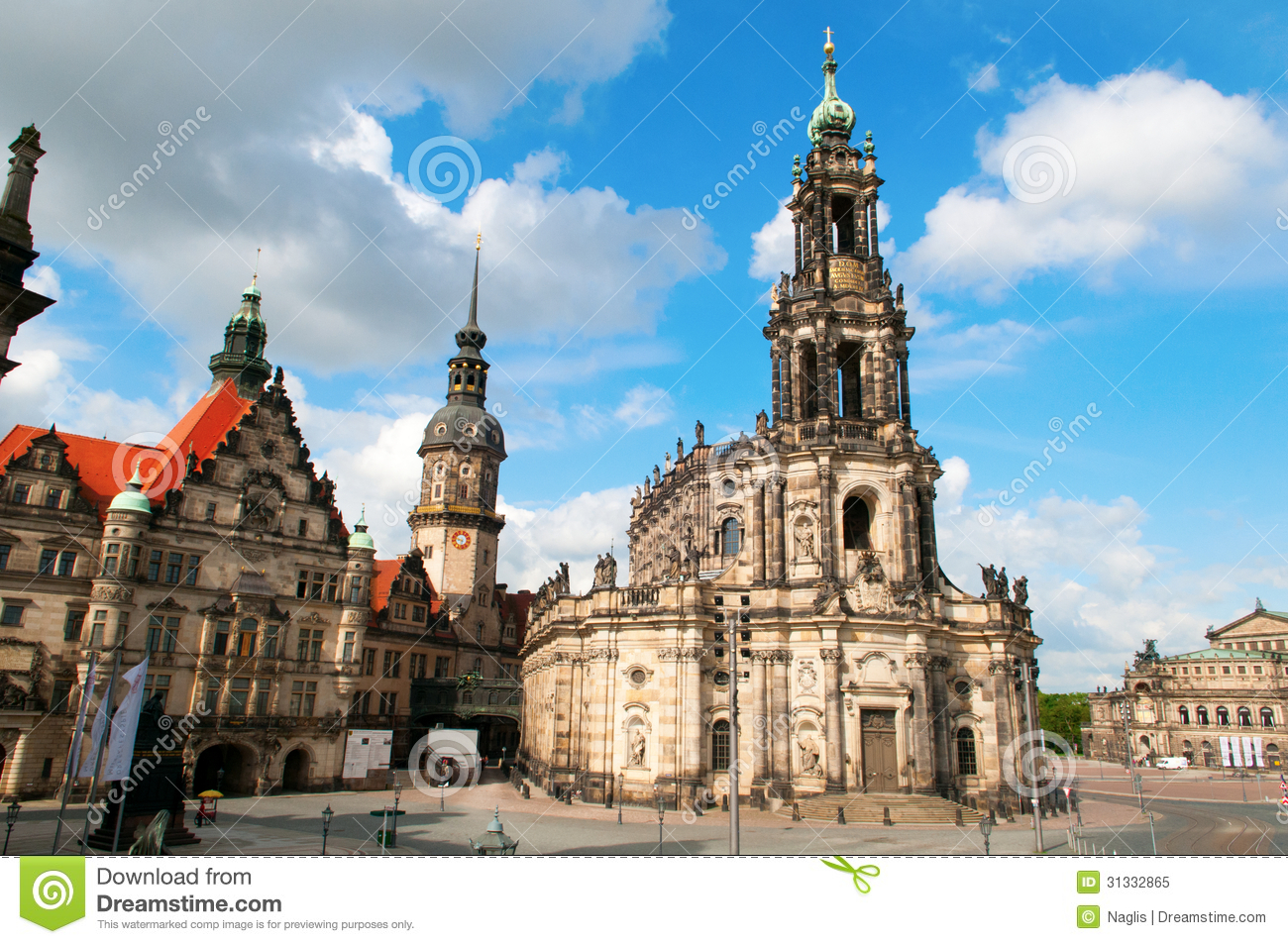 Theaterplatz, Dresden Royalty Free Stock Photo.