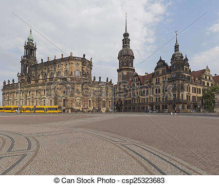 Pictures of Catholic Church and Dresden Castle, Germany.