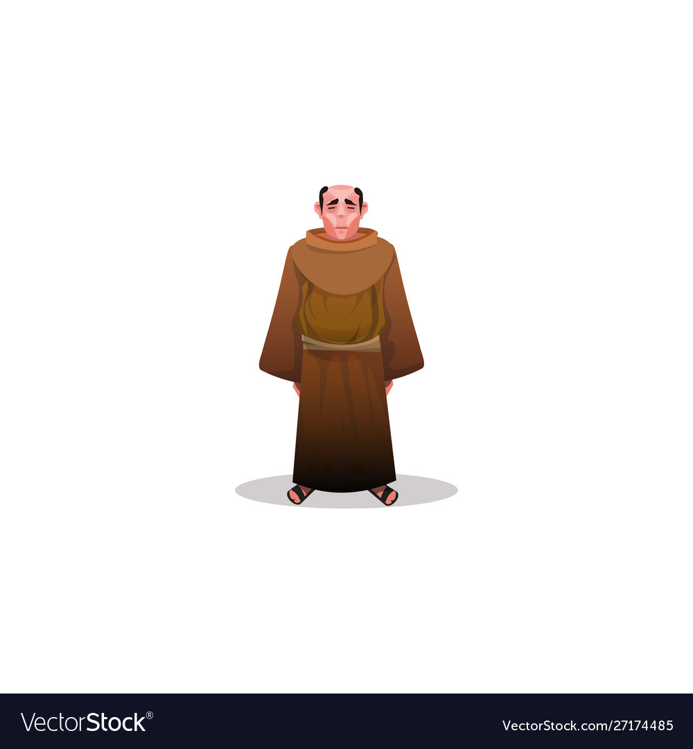 Catholic monk in brown shabdress and sandals.