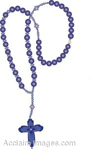Clip Art of Blue Rosary Beads.