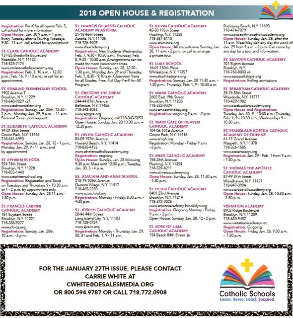 Catholic Schools Week Listings 2018.