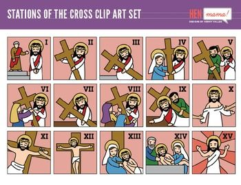 Stations of the Cross Clip Art Set (15 stations.