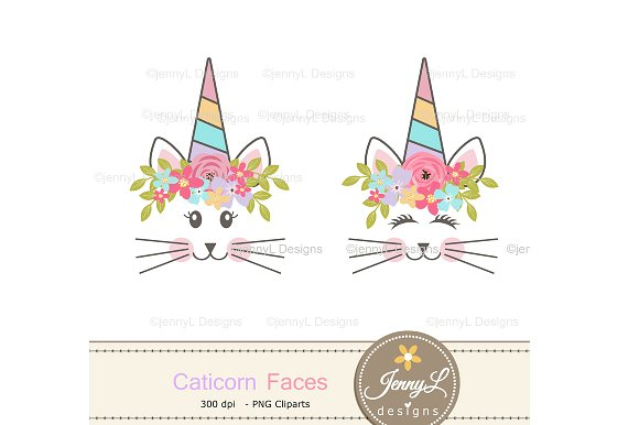 Caticorn face Clipart, Cat Unicorn.