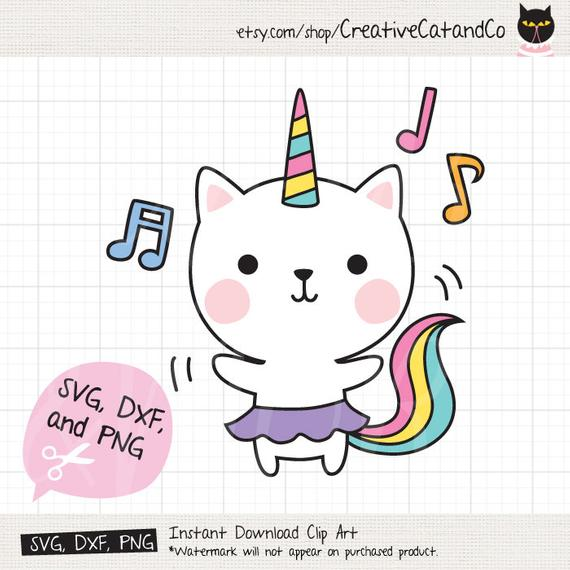 Dancing Cat Unicorn SVG DXF Files for Cricut or Silhouette Cute.