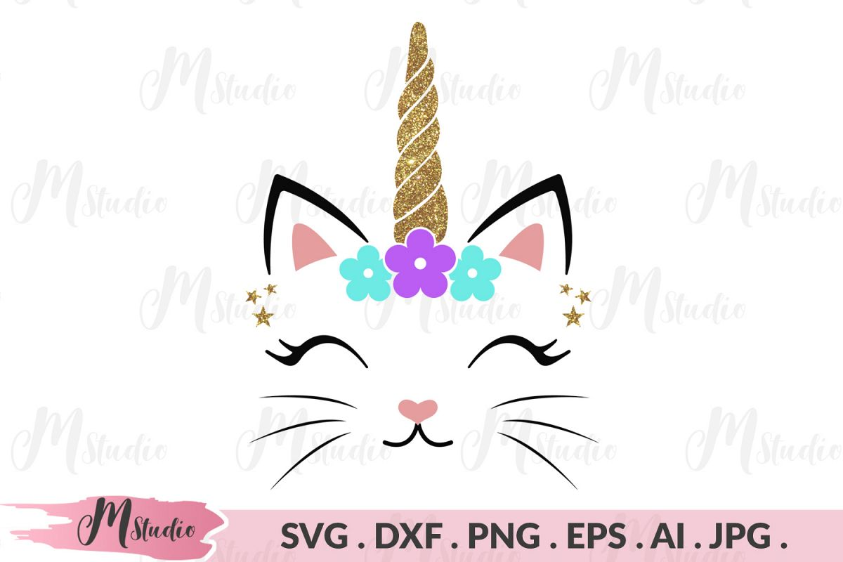 Caticorn head Svg.