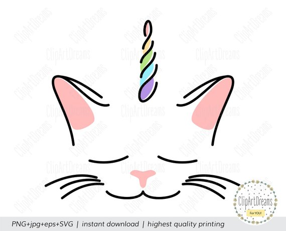 Caticorn SVG Unikitty svg Kitticorn Svg PNG clipart Cat lover gift.