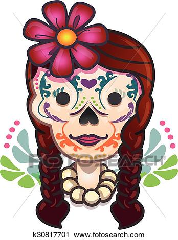Mexican traditional catrina cartoon Clipart.