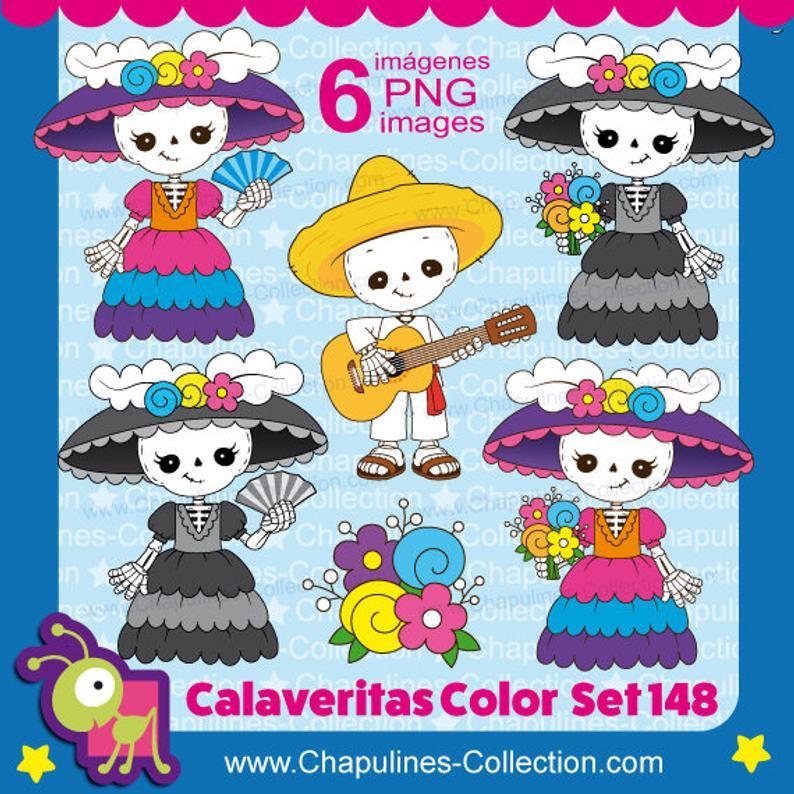 Day of the dead clipart, skeleton, calaveritas, Catrina, Dapper Skeleton,  musician, guitar, Día de Muertos, Set 148.