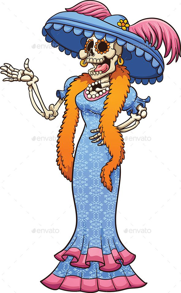 Mexican catrina laughing. Vector clip art illustration with simple.