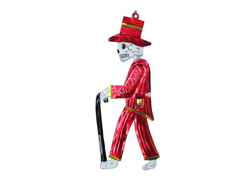 Skeleton Catrino, tin wall plaque, red.