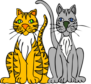 Two Cartoon Cats PNG, SVG Clip art for Web.