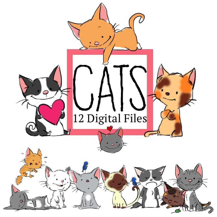 Cute Cats Clip Art—12 Digital Files.