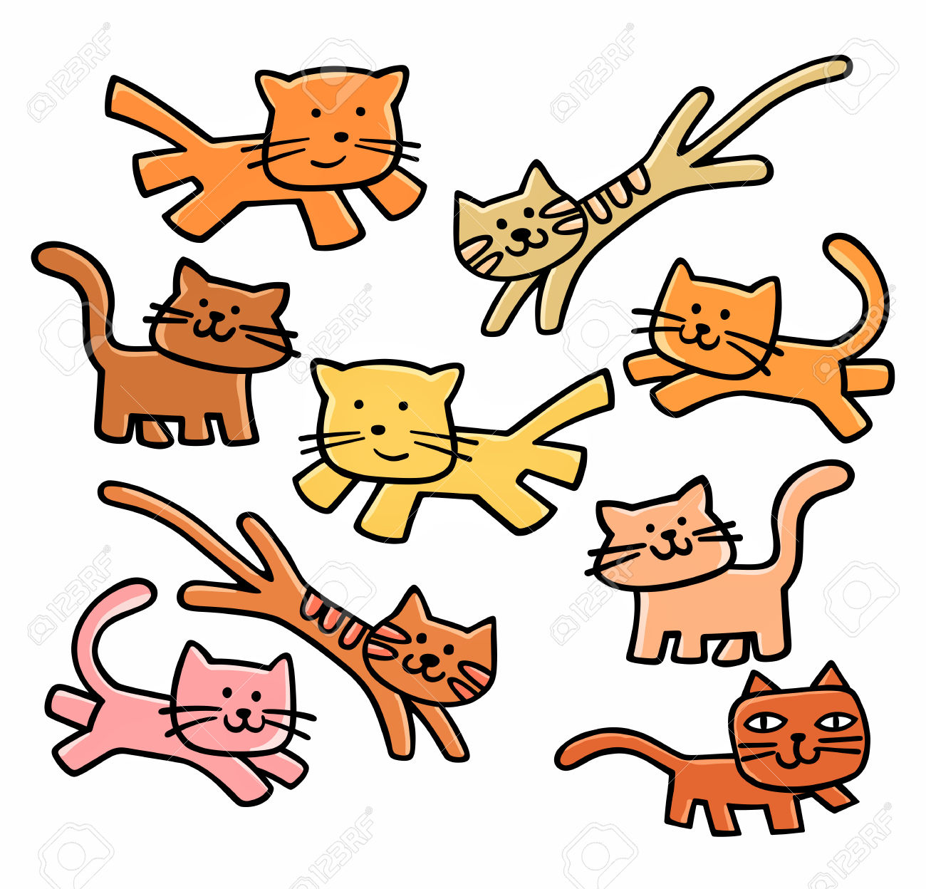 Cute Cats Clipart Royalty Free Cliparts, Vectors, And Stock.