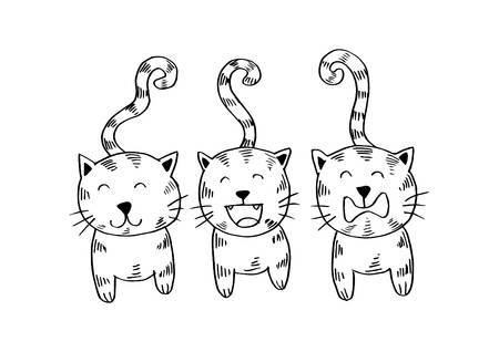 Three cats clipart black and white 2 » Clipart Portal.