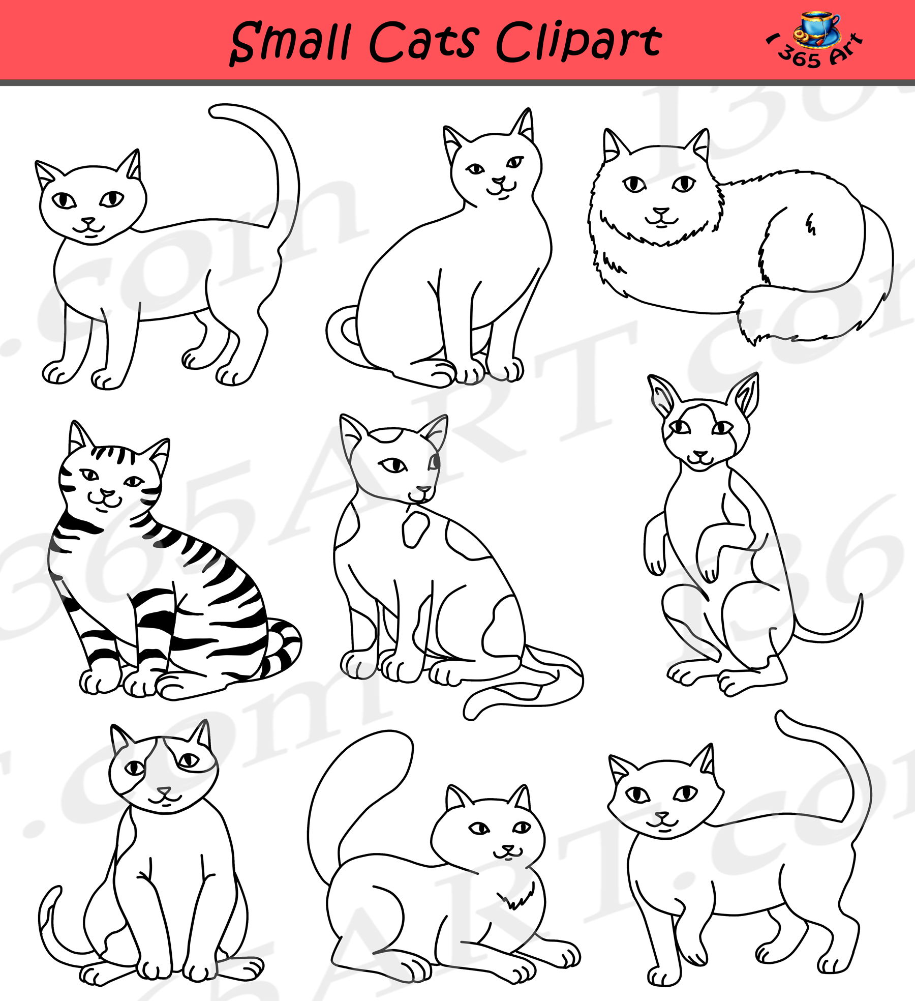 Small Cats Clipart.
